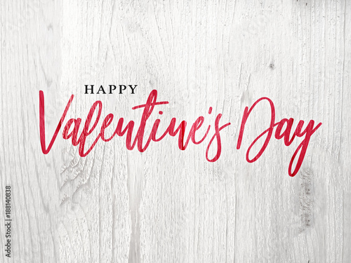 Happy valentine s day holiday red calligraphy over rustic