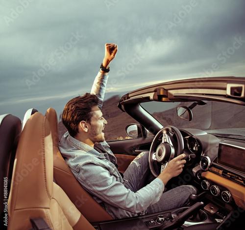 Printed kitchen splashbacks Artist KB Handsome man riding a luxuriois convertible car