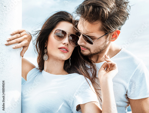 Tuinposter Artist KB Romantic couple relaxing on the ferry
