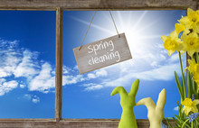 Window, Blue Sky, Spring Cleaning