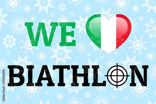 We Love Biathlon Vector Illustration Italy National Flag Heart