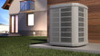 canvas print picture - Air heat pump and house