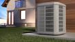 Leinwanddruck Bild - Air heat pump and house