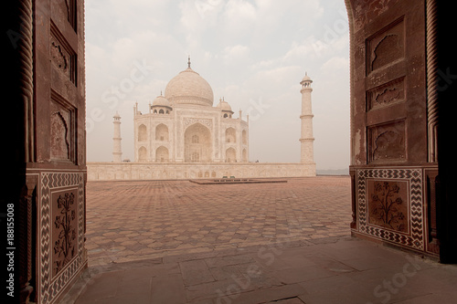 Taj Mahal door view India Canvas Print