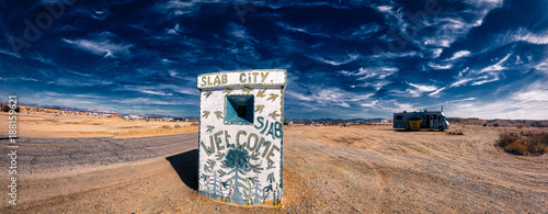 Fotografering  Entrance to Slab City panorama