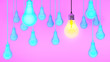 canvas print picture - Hanging light bulbs with glowing one different idea on  background , Minimal concept idea.3d rendering. 3d illustration.