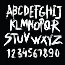 Alphabet Poster, Dry Brush Ink...