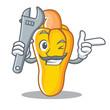 Mechanic cashew mascot cartoon style