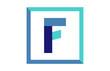 F Square Blue Ribbon Letter Logo
