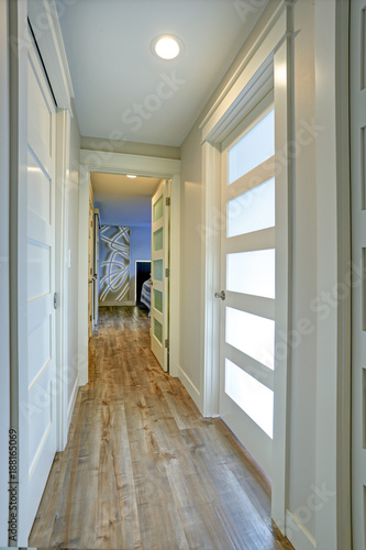 Long Narrow Corridor With White Doors Accented With Glass Panels