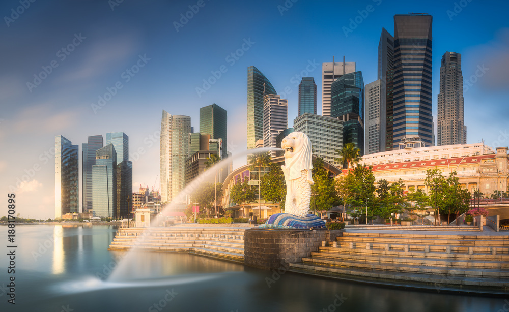 Fototapeta Business district and Marina bay in Singapore
