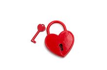 Metalic Red Heart With A Key O...