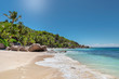 Beautiful sunny tropical beach on the paradise island in Seychelles.Summer vacation and holiday travel concept.