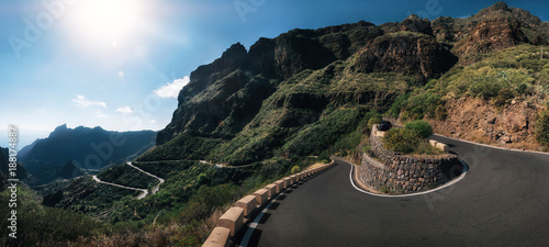 Foto auf AluDibond Blaue Nacht Panoramic view of mountain winding road leading to the village of Masca, Tenerife, Spain