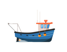 Vintage Fishing Trawler Isolat...