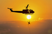 Soldiers Rescue Helicopter Operations On Sky