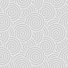 Spirals And Swirls Abstract Geometric Vector Seamless Pattern.