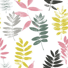 FototapetaSeamless pattern with leaves silhouettes