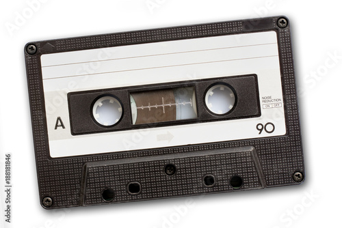 Fototapeta Audio cassette tape isolated on white background, vintage 80's music concept