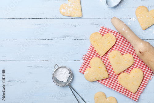 Sweet baking for Valentines day. Shortbread cookies in shape of heart top view.