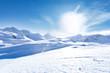 Leinwanddruck Bild - Junge sportliche Frau fährt Ski, macht Winter Sport in einem Winter Paradis. Schnee bedeckte Berge, blauer Himmel und Farbenfroher Ski Anzug