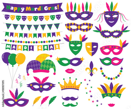 Mardi Gras decoration and design elements set Wall mural