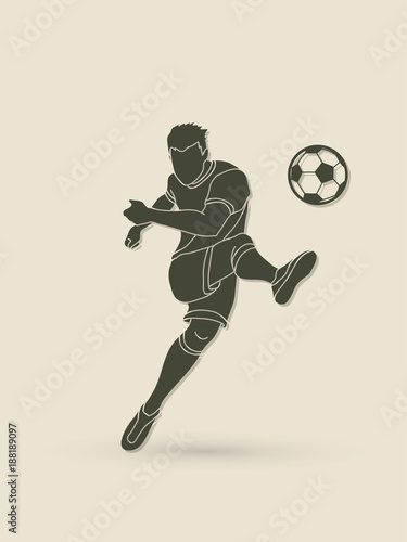 Soccer player shooting a ball action  graphic vector Fototapet