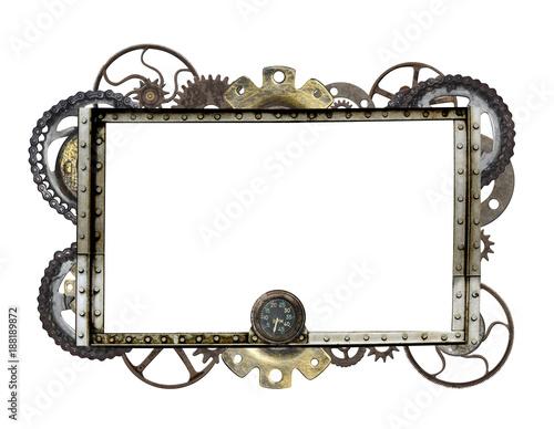 Photo  Metallic frame with vintage machine gears and cogwheel
