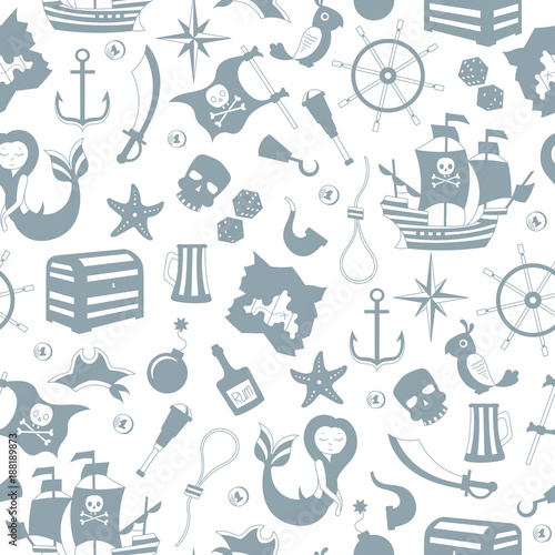 Cotton fabric Seamless illustration of the topic of piracy and Maritime travel , grey silhouettes icons on a white  background