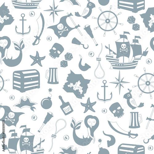 Materiał do szycia Bezszwowe ilustracja tematu piractwa i morskiej podróży, szary sylwetki ikony na białym tle