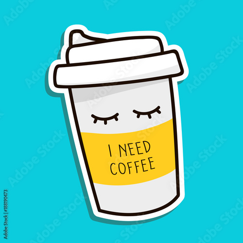 Fotografie, Obraz Coffee to go paper cup hand drawn vector illustration