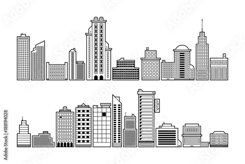 Fototapety, obrazy: Set of modern city buildings. Black and white contour style.