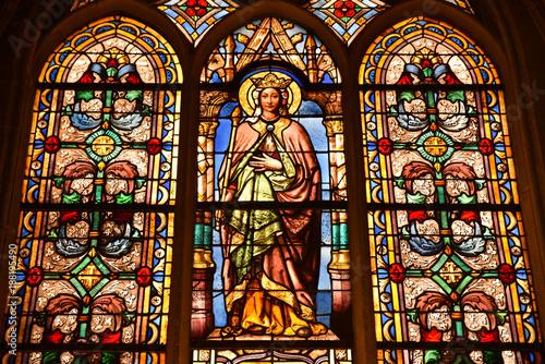 Vitraux de l'église Saint-Germain l'Auxerrois à Paris, France Poster