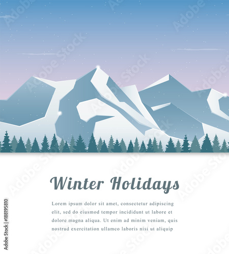 Foto op Canvas Lichtblauw Landscape with mountain peaks. Winter sport vacation and outdoor recreation. Vector