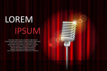 Theater Stage With Red Curtain And Spotlight With Space For Text. Poster For Concert, Party, Theater, Circus Or Cinema Background. Vector Illustration