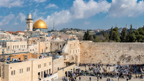 Panorama of Western Wall in Jerusalem Old City, Israel.