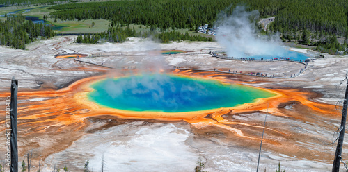 Canvas Prints Natural Park Panorama of Grand Prismatic Spring in Yellowstone national park, Wyoming.
