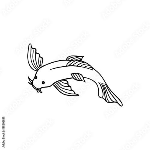 Japanese Asian Koi Carp Goldfish Fish Top View Flat Style