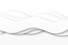 Modern Paper Art Cartoon Abstract White Water Waves. Realistic Trendy Craft Style. Origami Design Template. Realistic Trendy Craft Style.