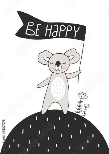 mis-koala-trzymajacy-flage-z-napisem-be-happy
