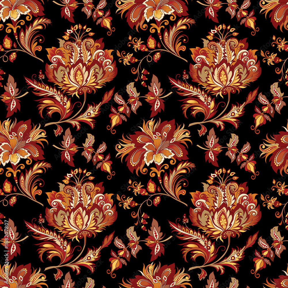 background with abstract flowers in oriental style Fototapeta