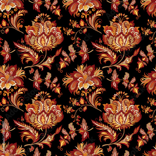 Tela background with abstract flowers in oriental style