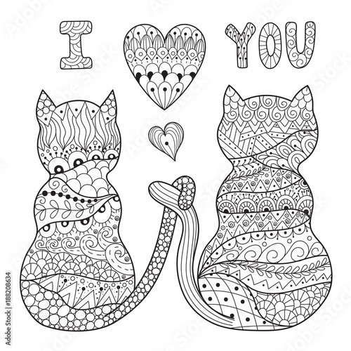 Coloring page with two romantic cats. Valentine black and ...