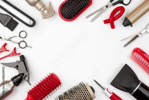 Hair tools isolated on white background, beauty and hairdressing concept Wallpaper Mural