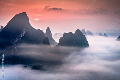 Poster Rose clair / pale Karst Mountains in Guilin,China