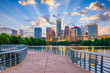 canvas print picture - Austin, Texas, USA cityscape on the river and walkway.