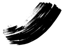 Vector Artistic Freehand Black Paint, Ink Or Acrylic Hand Made Creative Brush Stroke Background Isolated On White As Grunge Or Grungy Art Spray Effect, Education Abstract Elements Dark Frame Design