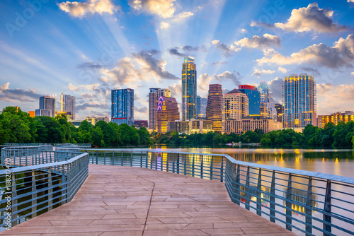 Wall Murals Texas Austin, Texas, USA cityscape on the river and walkway.
