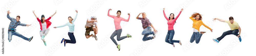 Fototapety, obrazy: group of people or teenagers jumping