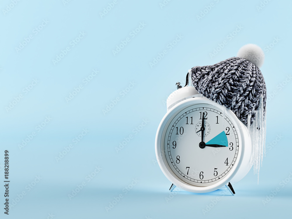 Fototapety, obrazy: clock changing from summer to winter time. wintertime concept. 3d rendering